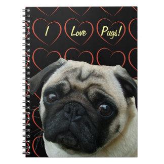 I Love Pugs with Hearts Notebook