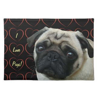 I Love Pugs with Hearts Placemat