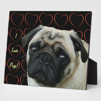 I Love Pugs with Hearts Plaques