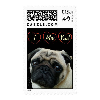 I Love Pugs with Hearts Postage
