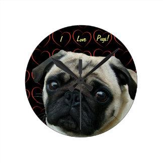I Love Pugs with Hearts Round Clock
