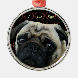 I Love Pugs with Hearts Round Metal Christmas Ornament