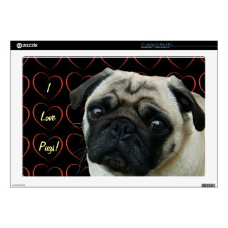"I Love Pugs with Hearts 17"" Laptop Skins"