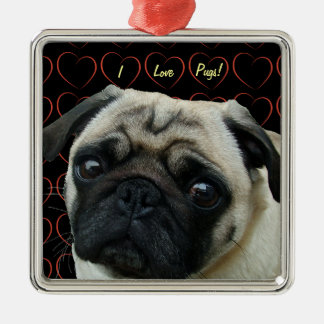 I Love Pugs with Hearts Square Metal Christmas Ornament