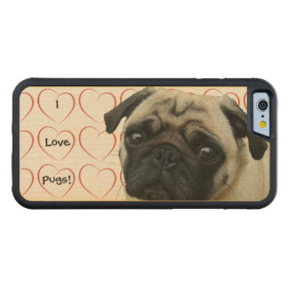 I Love Pugs with Hearts Carved® Maple iPhone 6 Bumper