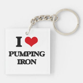 I love Pumping Iron Double-Sided Square Acrylic Keychain