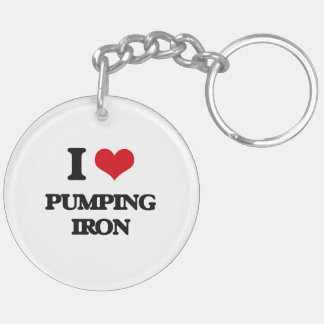 I love Pumping Iron Double-Sided Round Acrylic Keychain