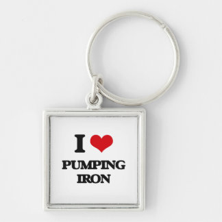 I love Pumping Iron Silver-Colored Square Keychain