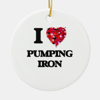 I love Pumping Iron Double-Sided Ceramic Round Christmas Ornament