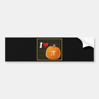 I Love Pumpkin Pie and Pi Math Numbers Orange Gold Bumper Stickers