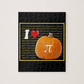 I Love Pumpkin Pie and Pi Math Numbers Orange Gold Jigsaw Puzzle