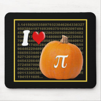 I Love Pumpkin Pie and Pi Math Numbers Orange Gold Mousepad