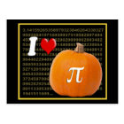 I Love Pumpkin Pie and Pi Math Numbers Orange Gold Postcard