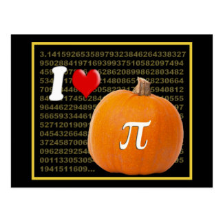 I Love Pumpkin Pie and Pi Math Numbers Orange Gold Postcard