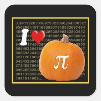 I Love Pumpkin Pie and Pi Math Numbers Orange Gold Square Sticker