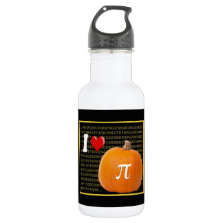 I Love Pumpkin Pie and Pi Math Numbers Orange Gold Water Bottle