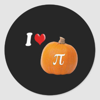 I Love Pumpkin Pie and Pi Orange Gold Classic Round Sticker