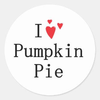 I love Pumpkin Pie Classic Round Sticker