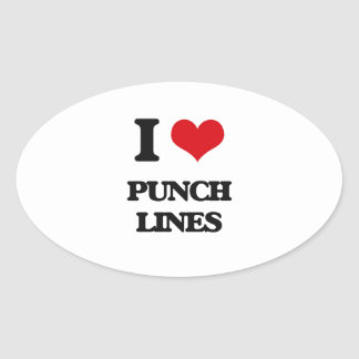I Love Punch Lines Oval Sticker