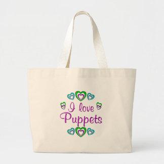I Love Puppets Jumbo Tote Bag