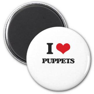 I Love Puppets Refrigerator Magnet