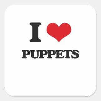 I Love Puppets Square Sticker