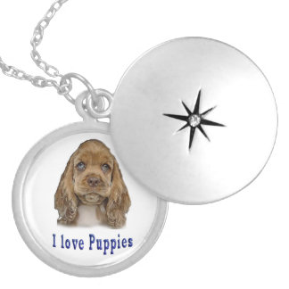 I love puppies locket necklace