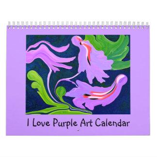 I Love Purple abstract art Wall Calendar