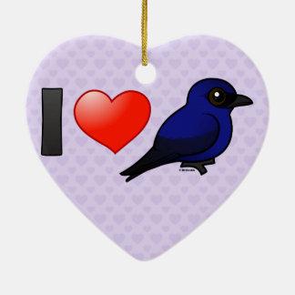 I Love Purple Martins Double-Sided Heart Ceramic Christmas Ornament