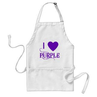 I Love Purple with Purple Heart Adult Apron