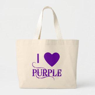 I Love Purple with Purple Heart Canvas Bag