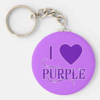 I Love Purple with Purple Heart Basic Round Button Keychain