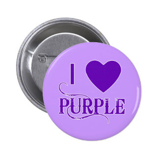 I Love Purple with Purple Heart 2 Inch Round Button