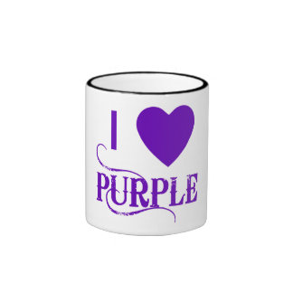 I Love Purple with Purple Heart Ringer Mug