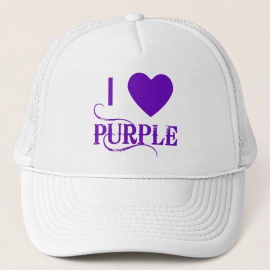 I Love Purple with Purple Heart Trucker Hat