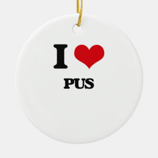 I Love Pus Double-Sided Ceramic Round Christmas Ornament