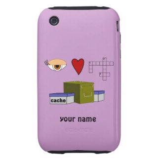 I Love Puzzle Caches Geocaching Custom iphone 3 Tough iPhone 3 Cases