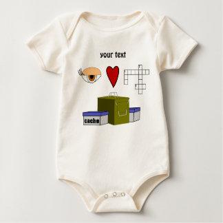 I Love Puzzle Caches Rebus Geocaching Lover Custom Baby Bodysuit