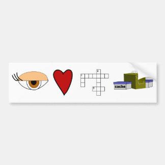 I Love Puzzle Caches Rebus Geocaching Lover Custom Bumper Sticker