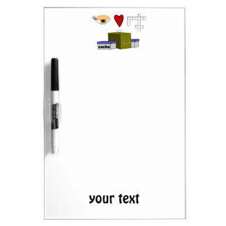 I Love Puzzle Caches Rebus Geocaching Lover Custom Dry Erase Whiteboard