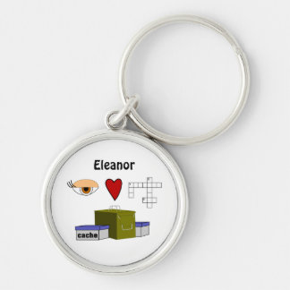 I Love Puzzle Caches Rebus Geocaching Name Custom Silver-Colored Round Keychain