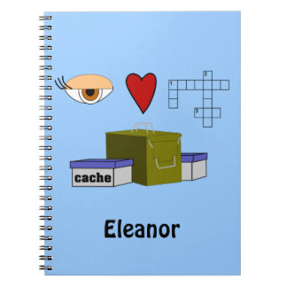 I Love Puzzle Caches Rebus Geocaching Name Custom Spiral Notebook