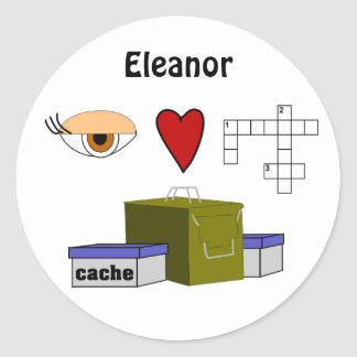 I Love Puzzle Caches Rebus Geocaching Name Custom Stickers