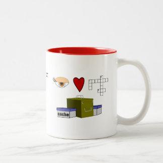 I Love Puzzle Caches Rebus Geocaching Name Custom Two-Tone Coffee Mug