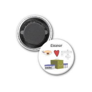 I Love Puzzle Caches Rebus Geocaching NameCustom 1 Inch Round Magnet