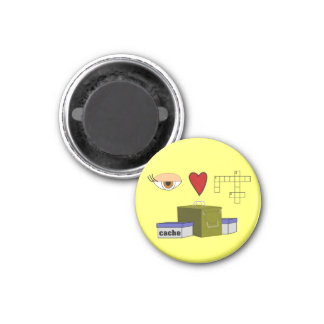 I Love Puzzle Caches Rebus Geocaching Swag Custom 1 Inch Round Magnet