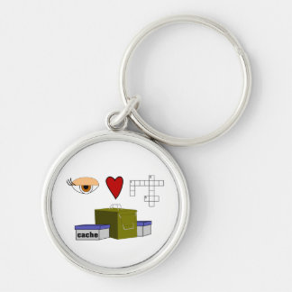 I Love Puzzle Caches Rebus Geocaching Swag Custom Silver-Colored Round Keychain