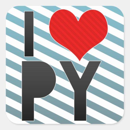 I Love PY Square Sticker