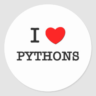I Love PYTHONS Classic Round Sticker