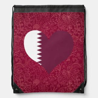 I Love Qatar Drawstring Bags
